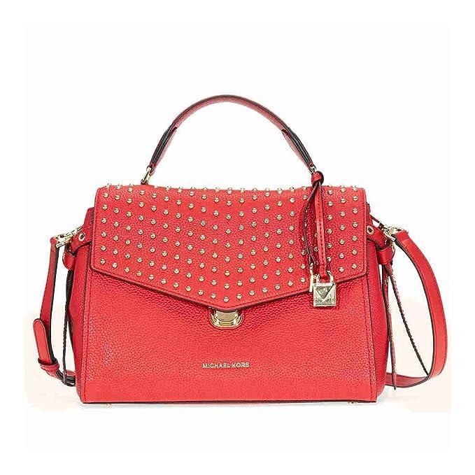 Michael Kors Bristol Medium Leather Studded Satchel Handbag in Bright Red   Amazon.ca  Clothing   Accessories 924d2eab0cc41