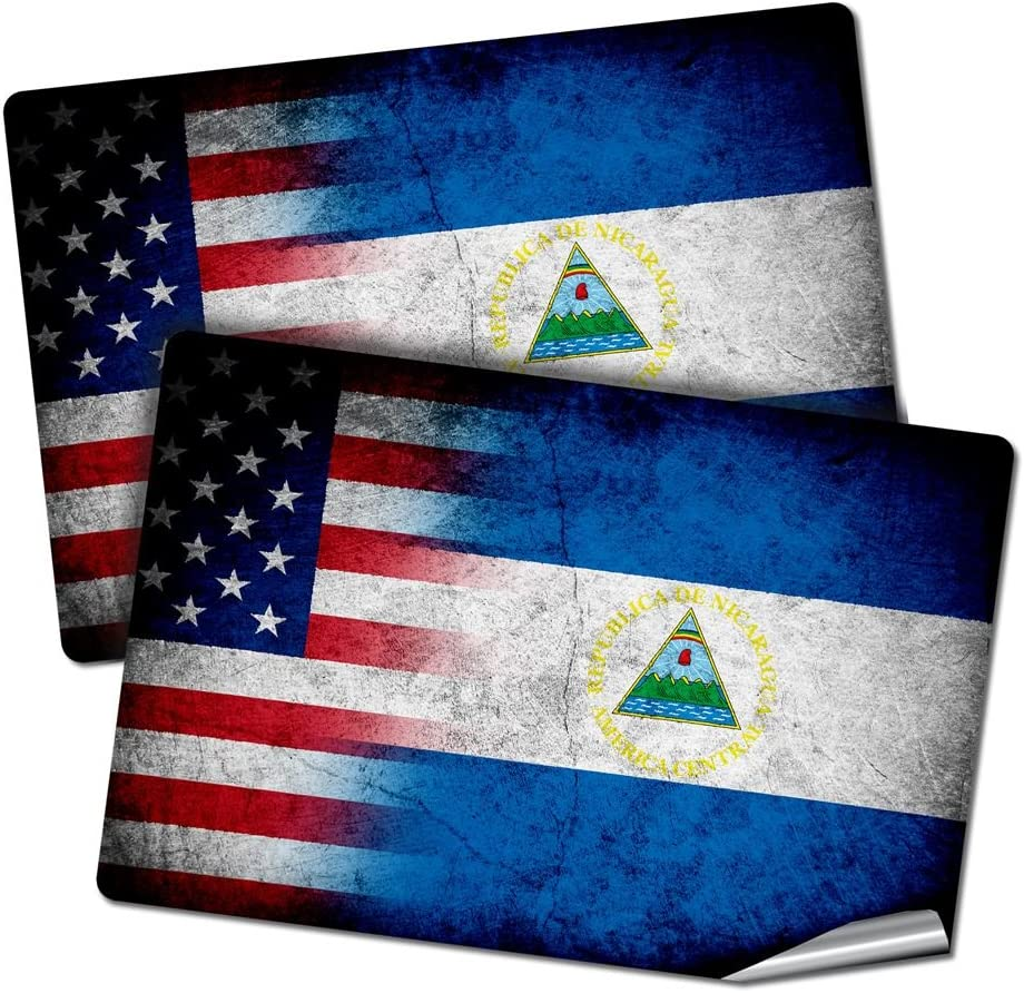 "ExpressItBest Two 2""x3"" Decals/Stickers with Flag of Nicaragua - Rustic w USA Flag - Long Lasting Premium Quality"