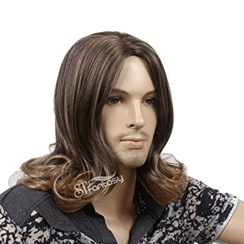 Amazon Com Mens Male Guy Wig Mid Length Brown Blonde Ombre Wavy