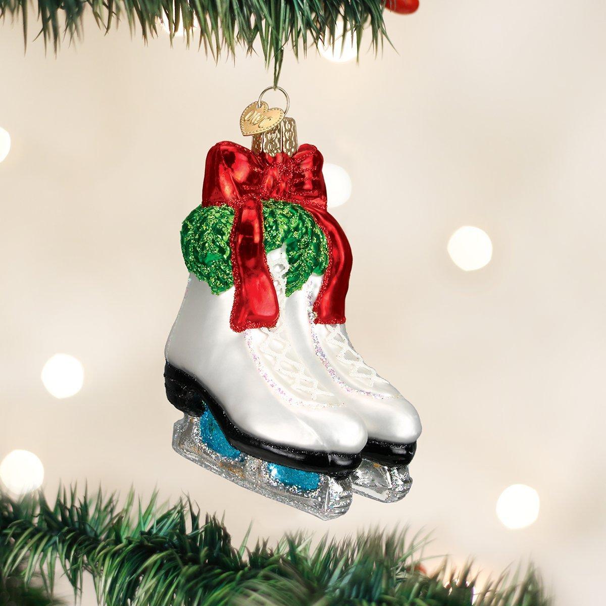 Amazon.com: Old World Christmas Holiday Skates Glass Blown Ornament ...