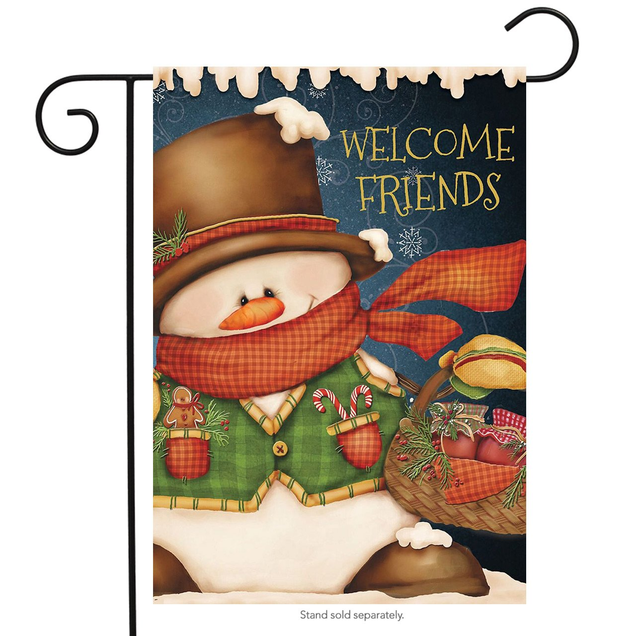 "Briarwood Lane Welcome Friends Snowman Christmas Garden Flag 12.5"" x 18"""