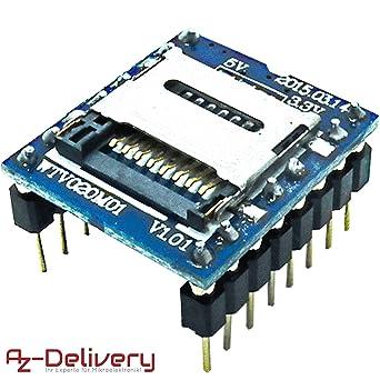 AZDelivery WTV020 Reproductor MP3 con lector de tarjetas ...