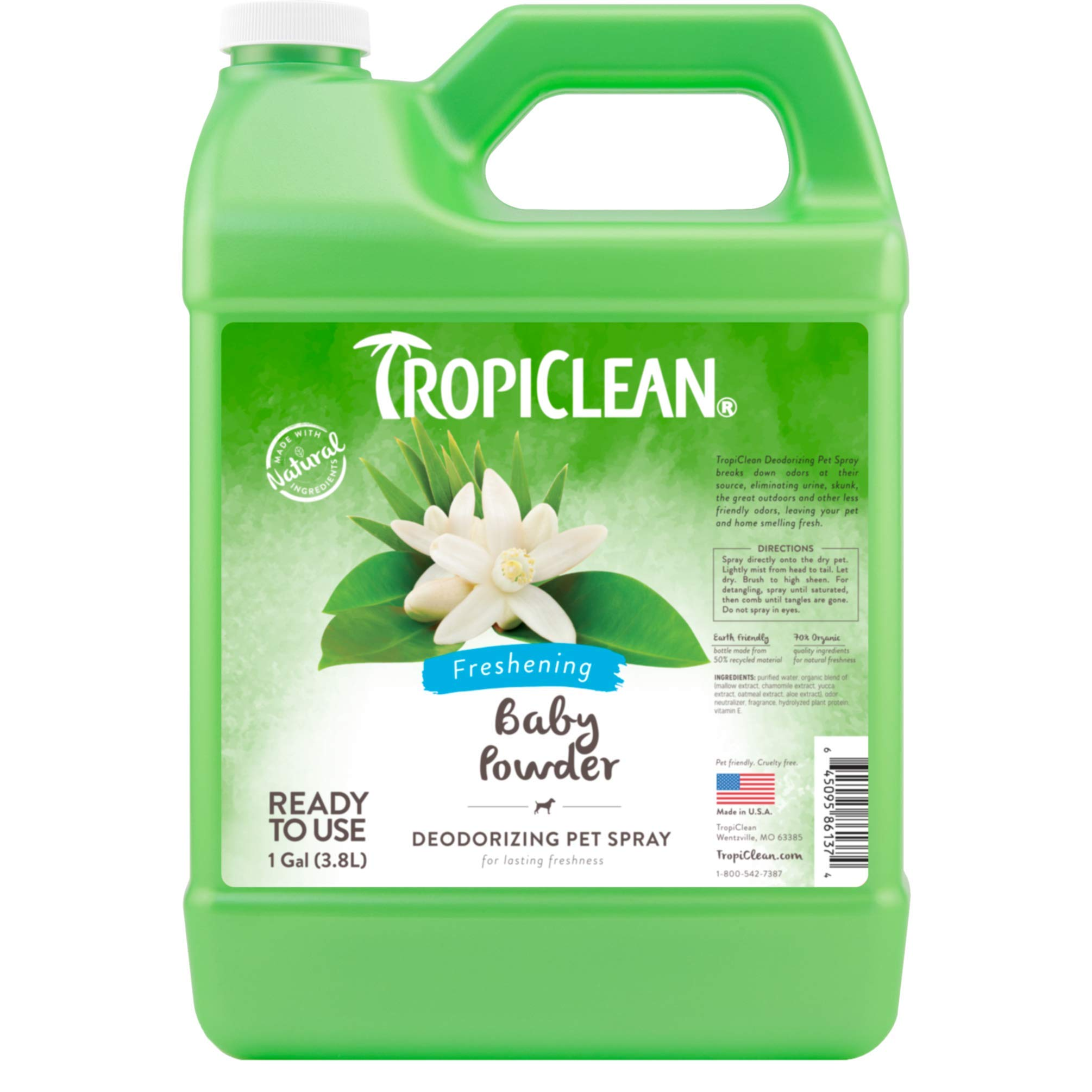 TropiClean Baby Powder Deodorizing Spray for Pets, 1 gal, Made in USA by TropiClean