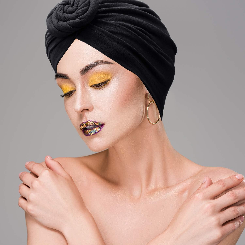 Turban-M/ütze 3 St/ück vorgebunden Mudder Stirnband mit Blumenknoten afrikanisches Muster