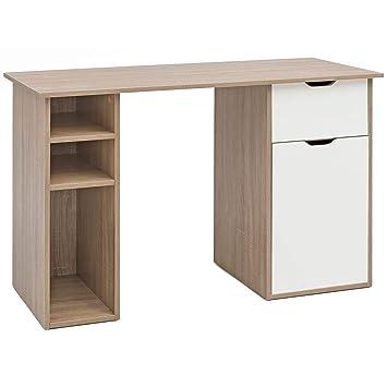Schreibtisch mit Schub 90 cm Sonoma Computertisch Kleiner Bürotisch mit Ablage