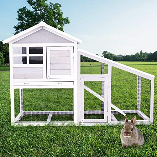 LinkRomat Wood Rabbit Cage, 2 Layer Large Chicken Coop Rabbit Hutch Pet House with Ventilation Door and Removable Tray, Ramp, Metal mesh Fence, Waterproof