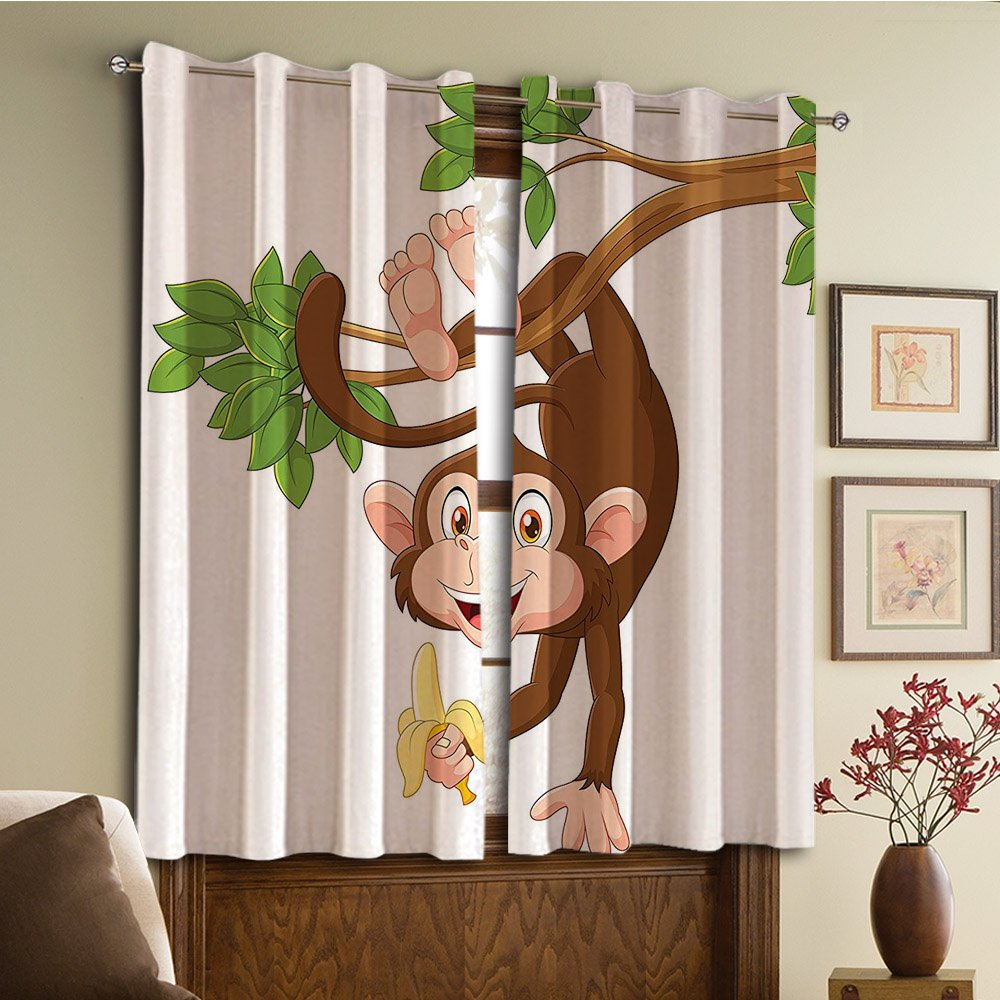 Custom design curtains/Vintage Lace Window Curtain/Grommet Top Blackout Curtains/Thermal Insulated Curtain For Bedroom And Kitchen-Set of 2 Panels(From Tree And Holding Banana Jungle Animals Them)