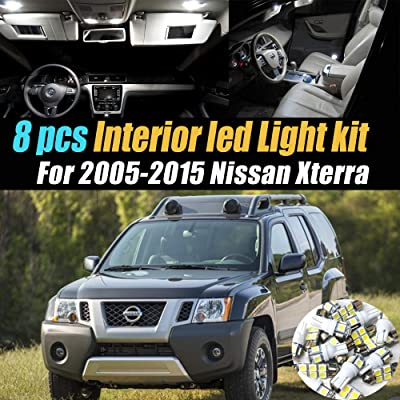 8Pc Super White 6000k Car Interior LED Light Bulb Kit Pack Compatible for 2005-2015 Nissan Xterra: Automotive