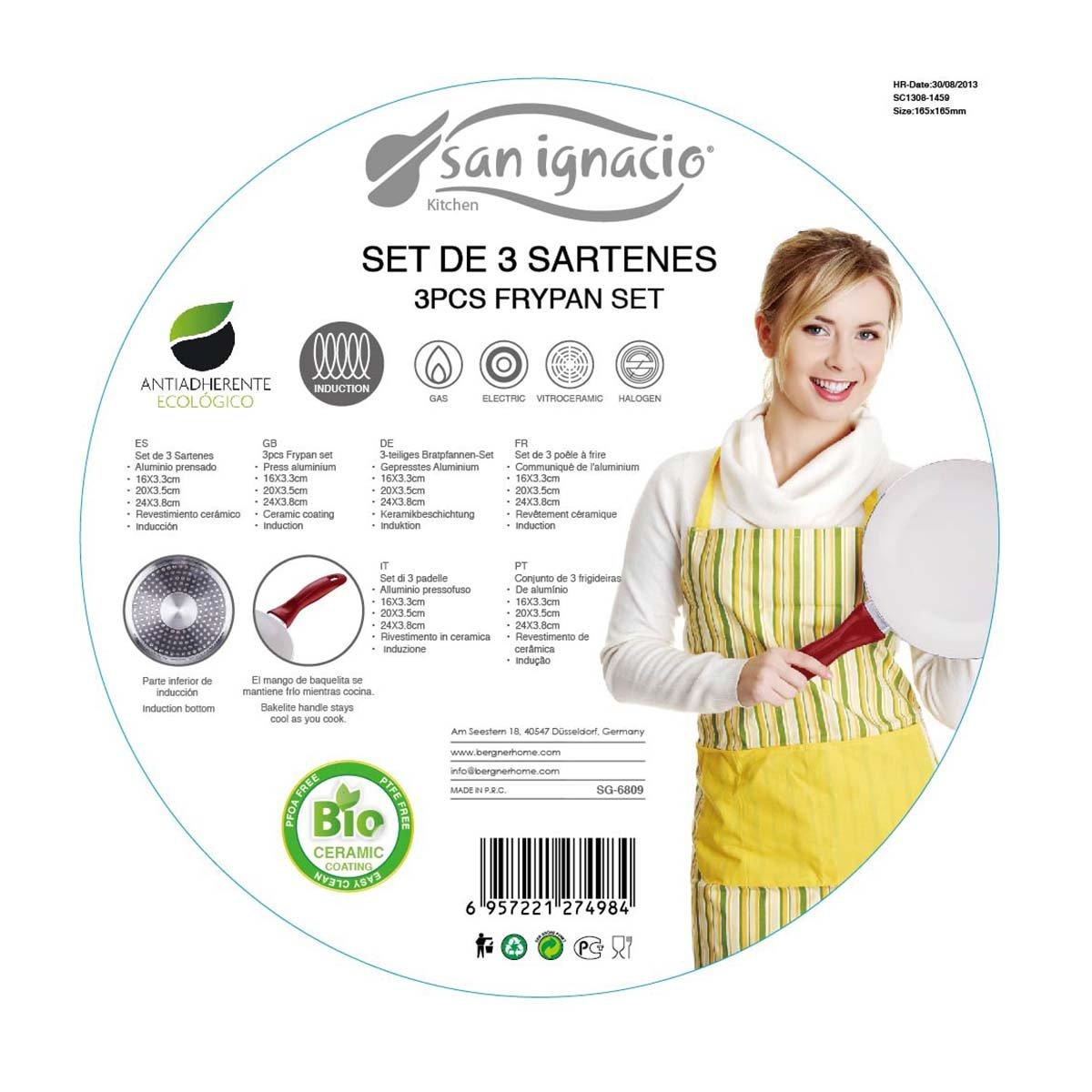 San Ignacio Set 3 sartenes de Aluminio prensado con Revestimiento cerámico, baquelita, Rojo: Amazon.es: Hogar