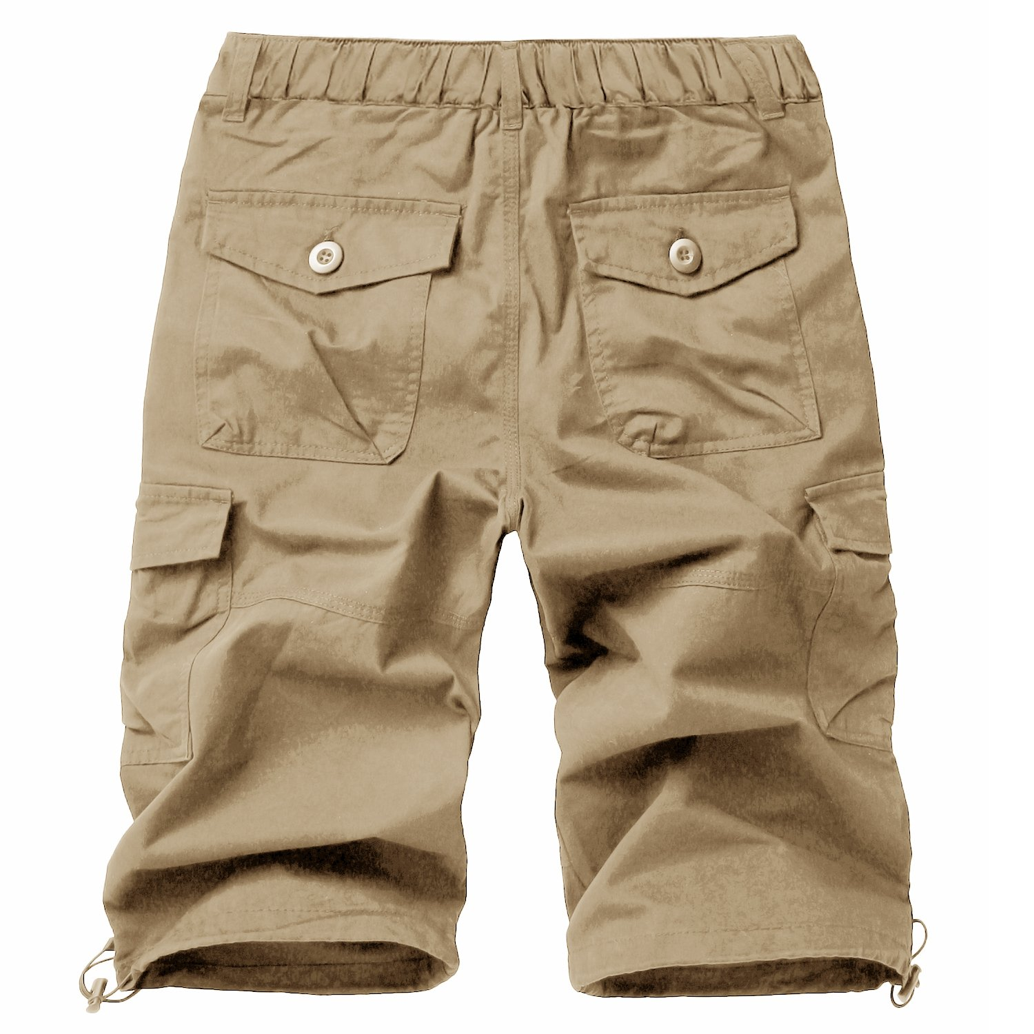 FASKUNOIE Men's Casual Shorts Relaxed Fit Loose 3/4 Cargo Shorts Autumn Work Business Below Knee Short Pants Pocket Khaki by FASKUNOIE (Image #7)