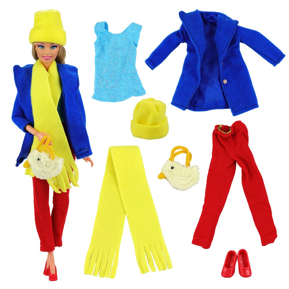 Barwa Casual Clothes Outfits Accessories Lot for Girls Blue Coat Shirt Red Pants with Shoes Scarf Hat and Handbag for Barbie Doll