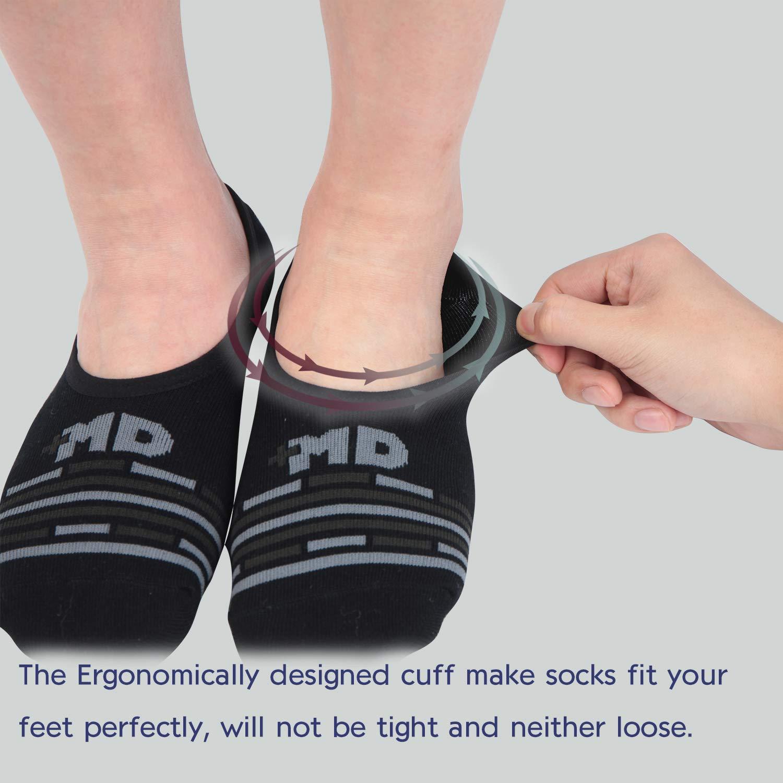 +MD 6 Pares Calcetines Cortos Hombre Invisibles Antideslizantes Respirable Calcetines Sneaker de Deporte