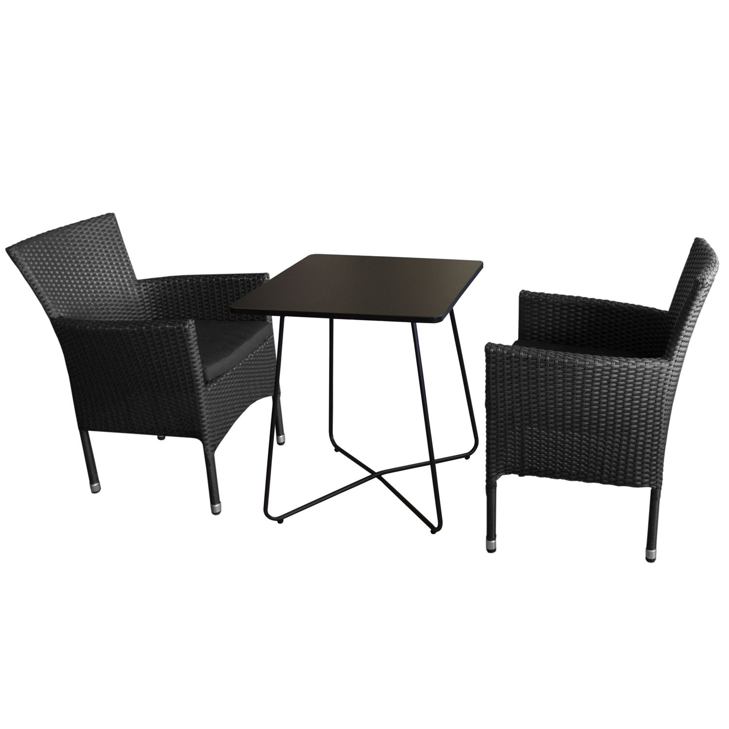 3tlg balkonm bel set bistrotisch metall 60x60cm schwarz 2x rattansessel stapelbar inkl. Black Bedroom Furniture Sets. Home Design Ideas