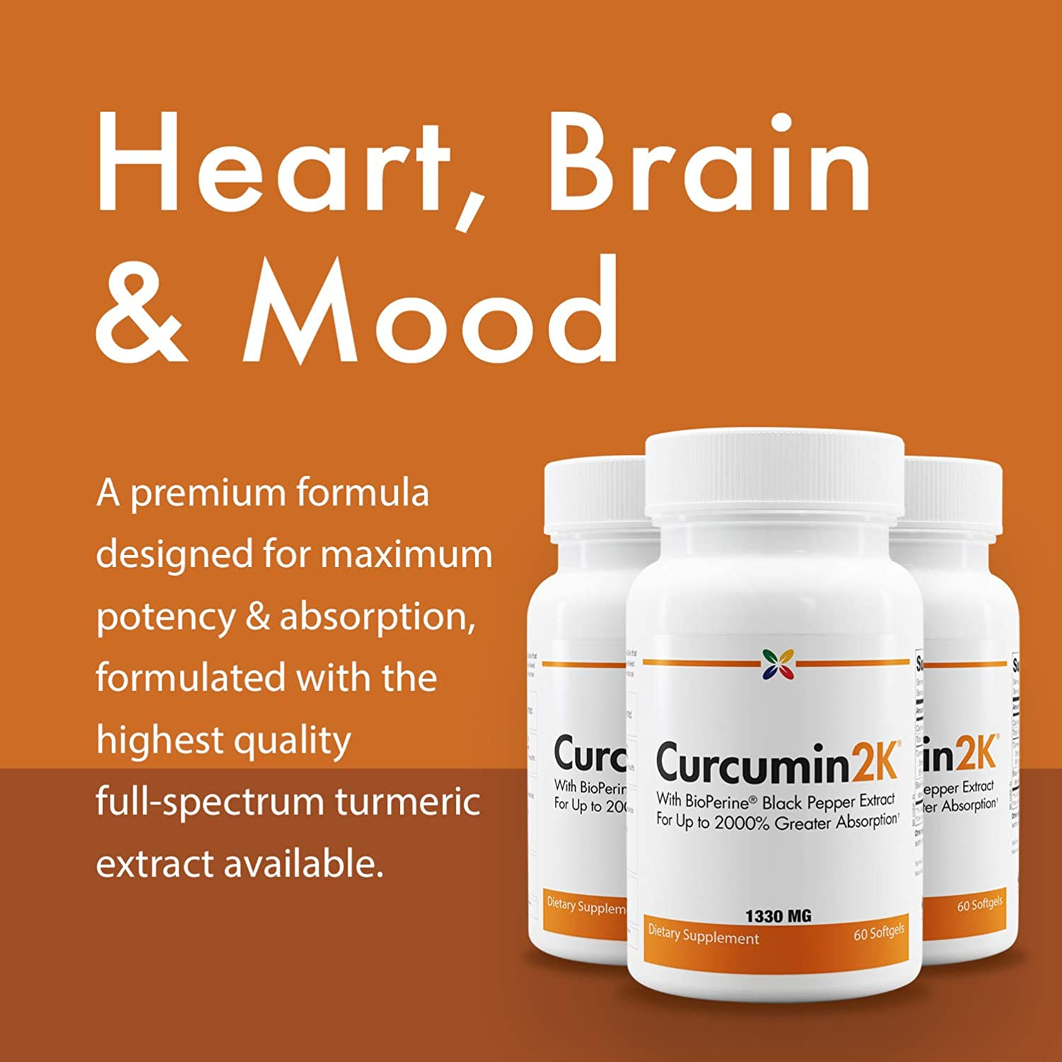3-Bottle Pack – Curcumin2K Formula with BioPerine Black Pepper Extract for Up to 2000 Greater Absorption – Stop Aging Now – 60 Veggie Caps