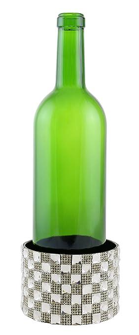 Vino órganos superficie pantalla cristal cuadros bloques decorada con Metal botella de vino posavasos: Amazon.es: Hogar