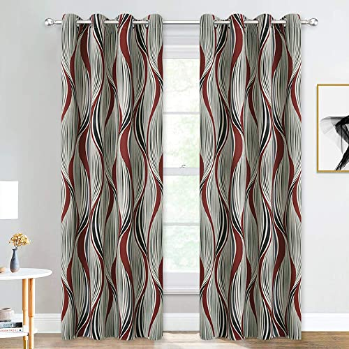 NICETOWN Red Wave Curtains 84 inches