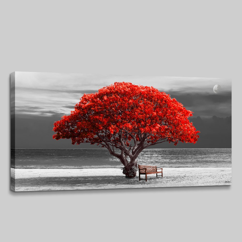 Wall Art for Living Room Decorations Photo Prints - Panoramic Black and White with red Trees The Moon Landscape - Modern Home Decor The Room Stretched and Framed Ready to Hang Artwork 24x48inches