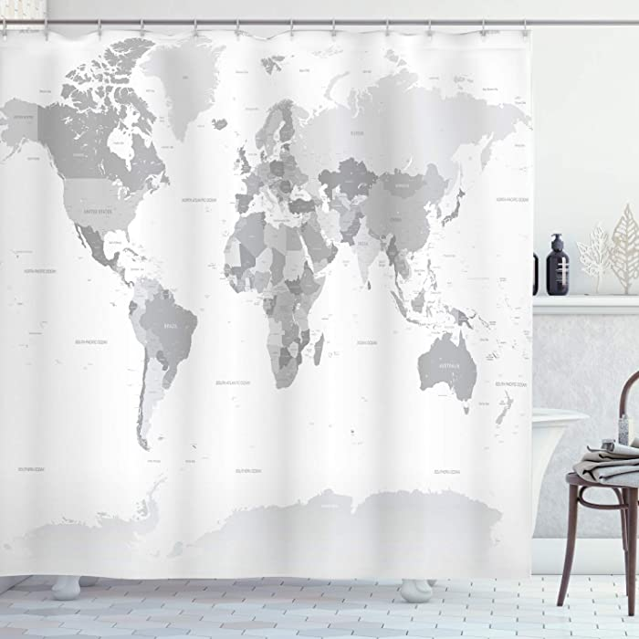 Ambesonne Grey Shower Curtain, Detailed World Map with All Countries Major Capital Cities Universe Earth Continents, Cloth Fabric Bathroom Decor Set with Hooks, 75