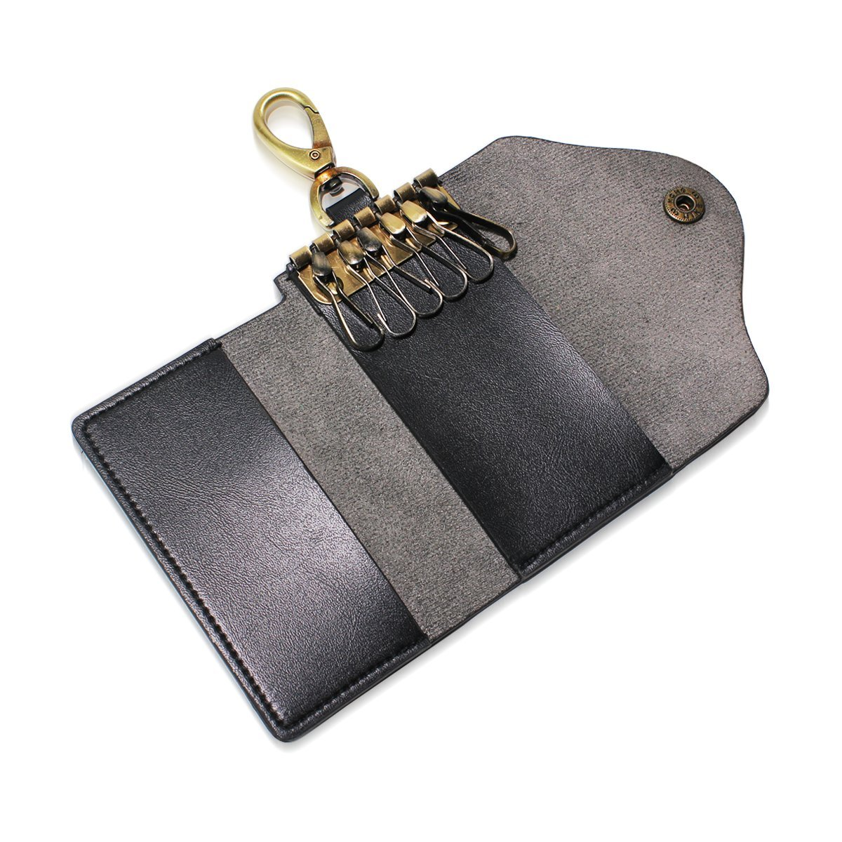 DEYYA Ethnic Elephant Leather Key Case Wallets Unisex Keychain Key Holder with 6 Hooks Snap Closure