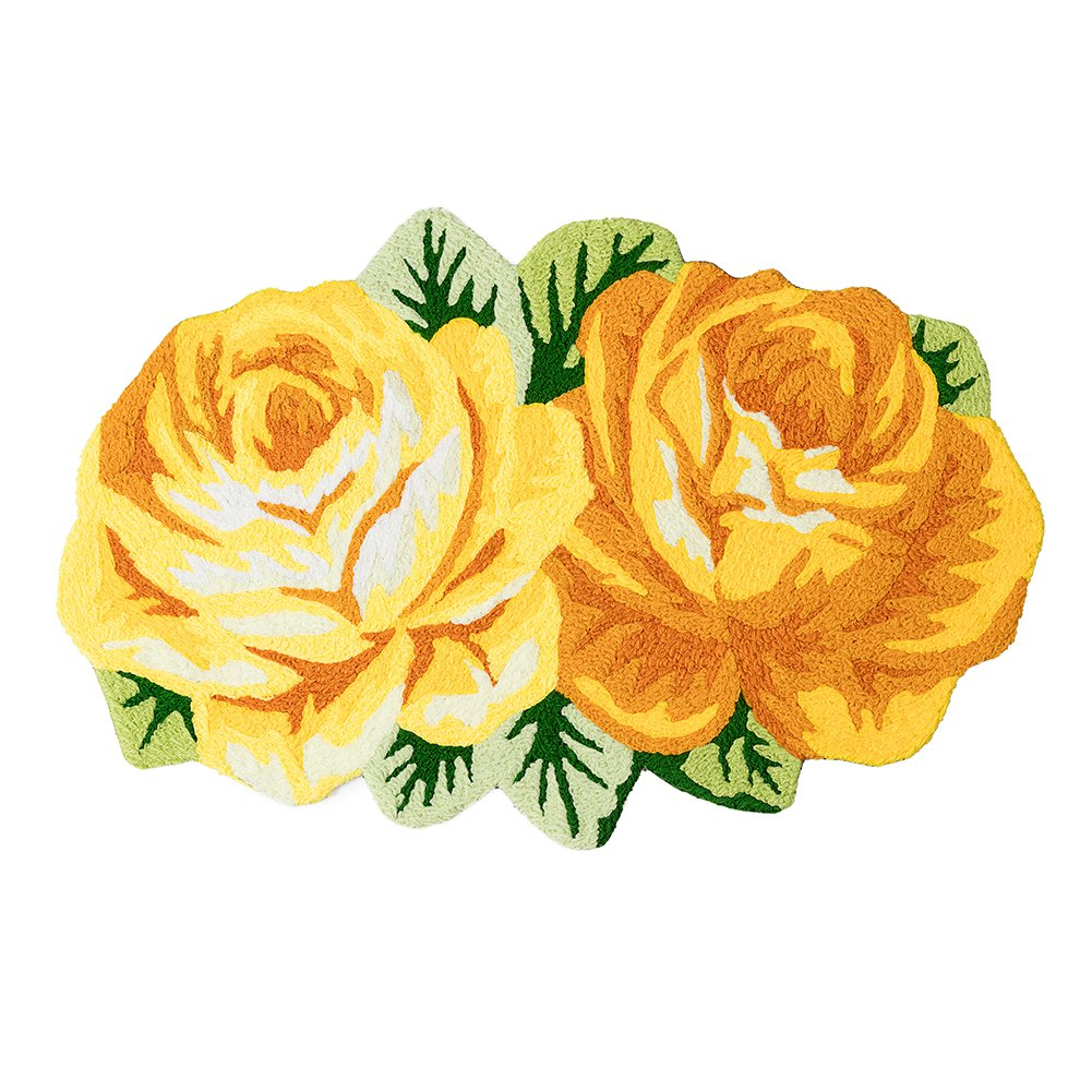 MAXYOYO Rose Rug Door Mats Welcome Mat Outdoor Mats for Front Door Entry Mat, Bath Mat Non Slip Small Rug for Living Room Bathroom Rugs and Mats 19 by 31 Inch, Yellow Rose