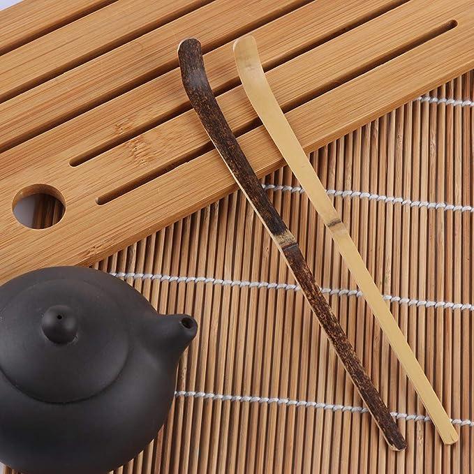Guide Kitchen Tool Matcha Spoon Black Bamboo Wood Tea Sticks Leaf Spatula