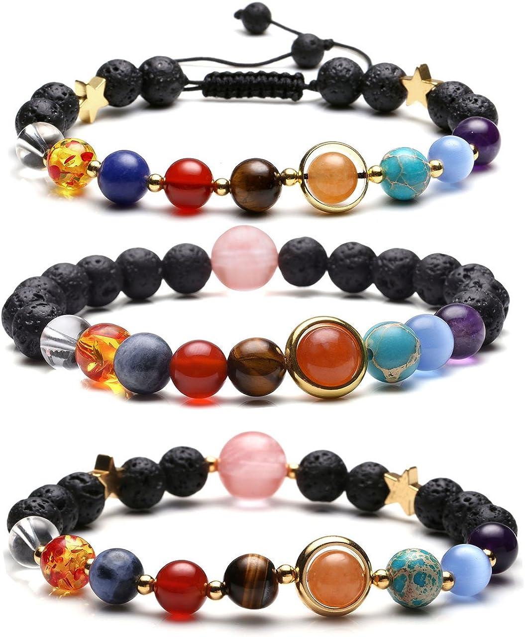 Jovivi Solar System Bracelet Universe Galaxy The Nine Planets Natural Lava Rock Beads Essentional Oil Diffuser Bracelet
