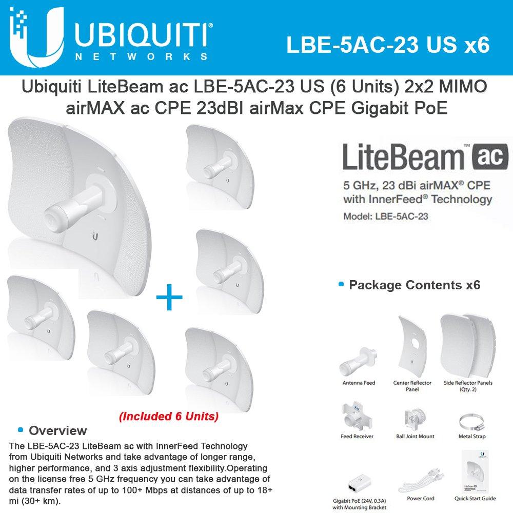 Ubiquiti LiteBeam LBE-5AC-23 US Bundle 6, 5GHz, 23dBI airMax CPE, Gigabit PoE