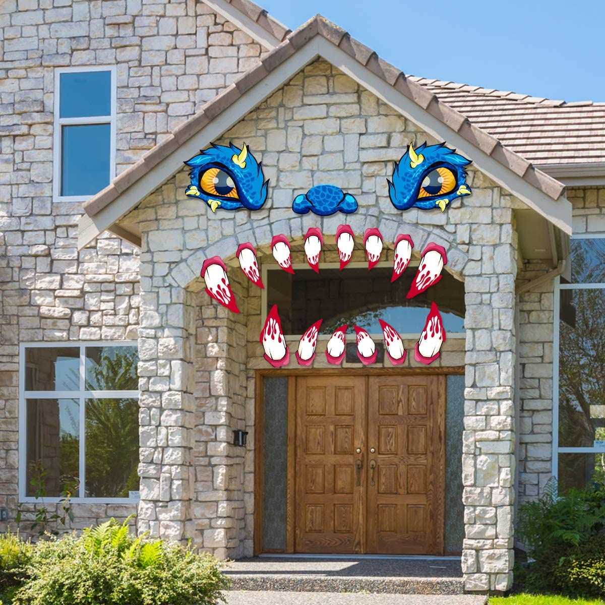 Halloween Decorations Garage Door Archway Monster Face with Eyes, Nostrils & Teeth Included Double Side Adhesive Tapes