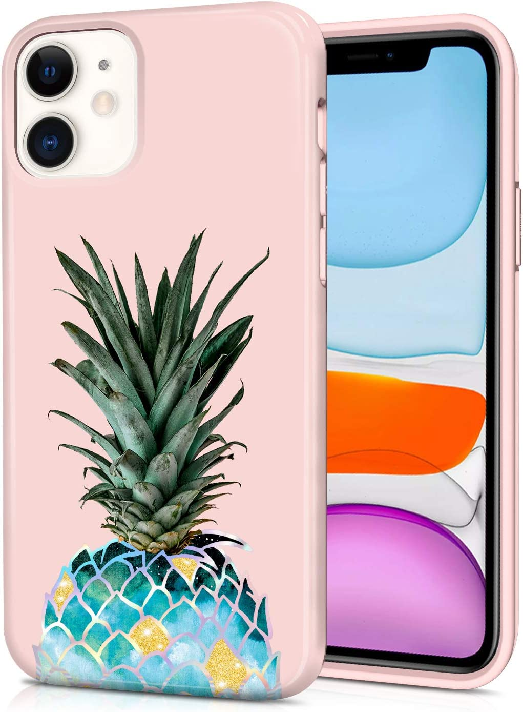 CAOUME iPhone 11 Case Pineapple Design Sparkly Glitter Protective Stylish Slim Thin Cute Holographic Cases for Apple Phone 11 (2019 Release), Soft TPU Silicone Bumper Defender Camera Screen