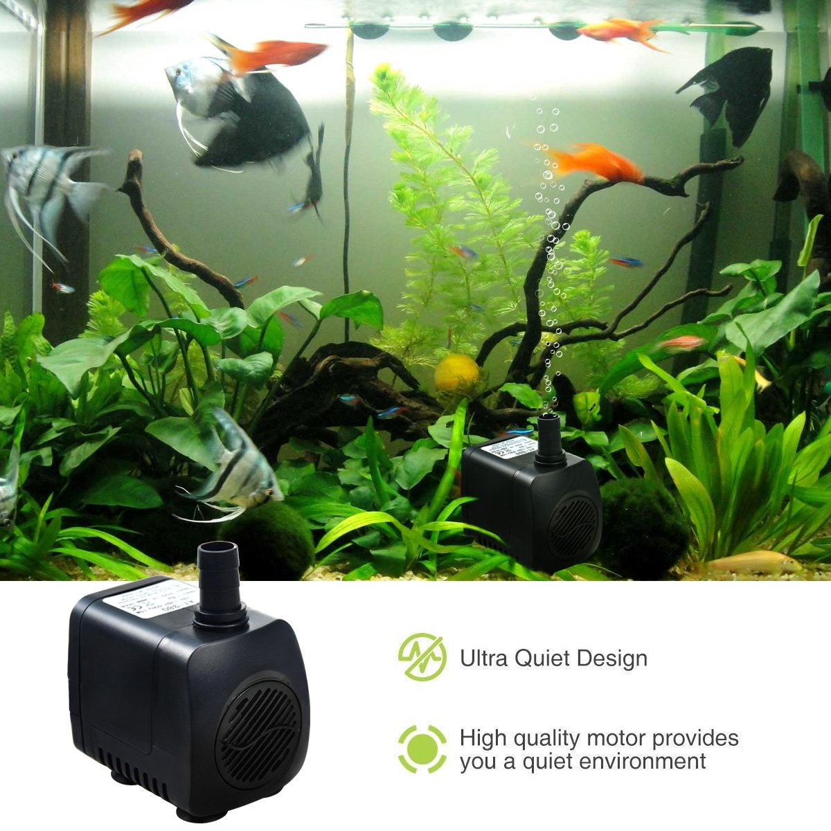 Intsun 220 GPH (800L/H, 12W) Submersible Water Pump for Fish Tank,  Aquarium, Fountain, Pond, Small Silent 12 LED Colorful Pump Lights with 2  Nozzle, 6