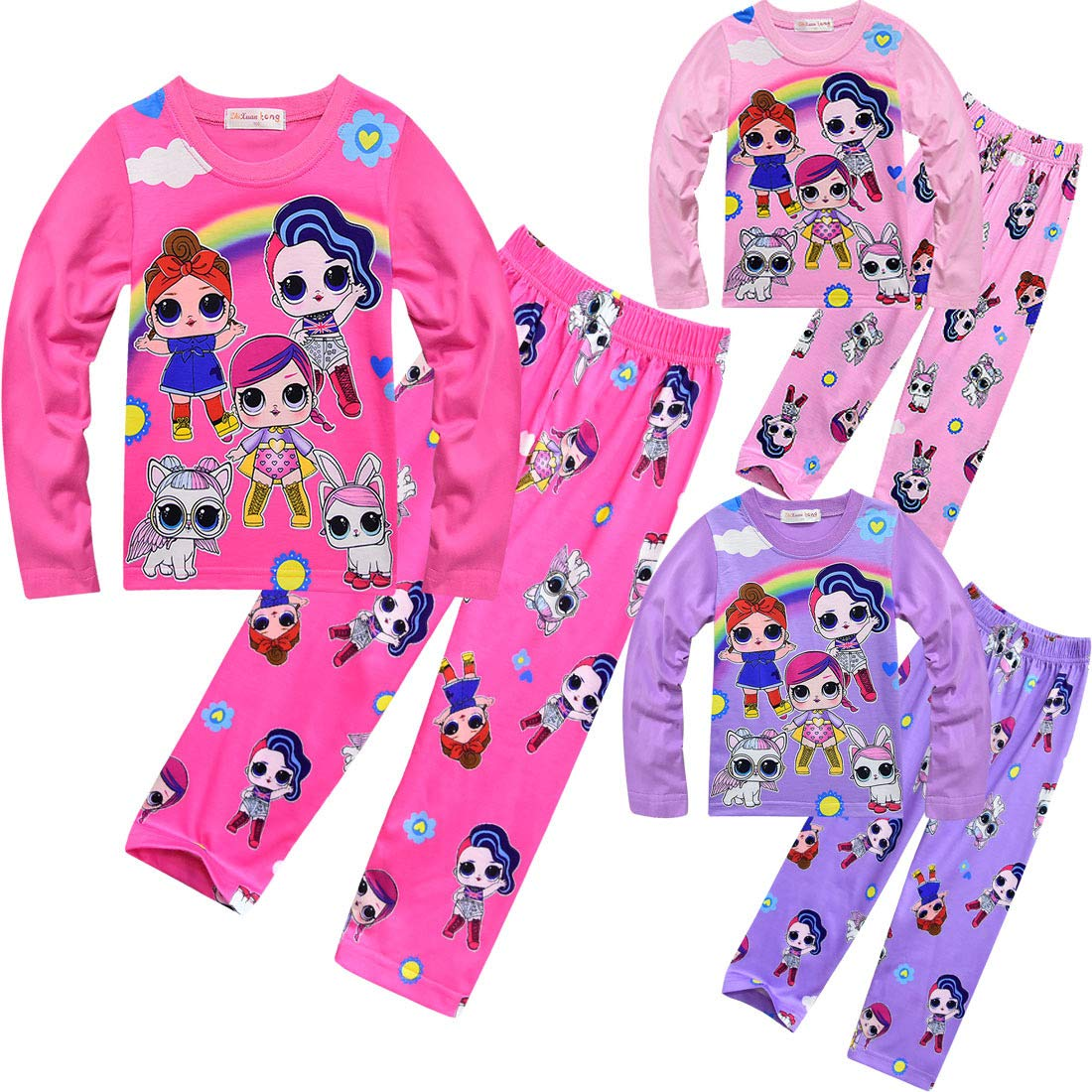 Two Piece Girls Christmas Doll Surprised Pajamas Set Cotton Pjs Toddler Clothes Set Kids Night Sleepwear Pyjamas