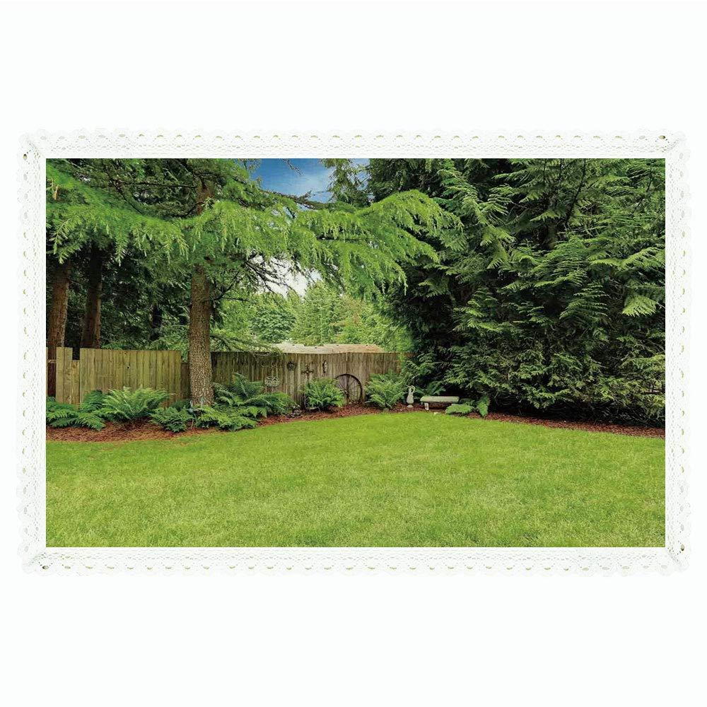 ファームハウス装飾 長方形ポリエステルリネンテーブルクロス/農場の木目調木製ハウス農場と木の上品な天気テーマ/ディナーキッチンホーム装飾用、55インチx72インチ、イエローブラウン 60