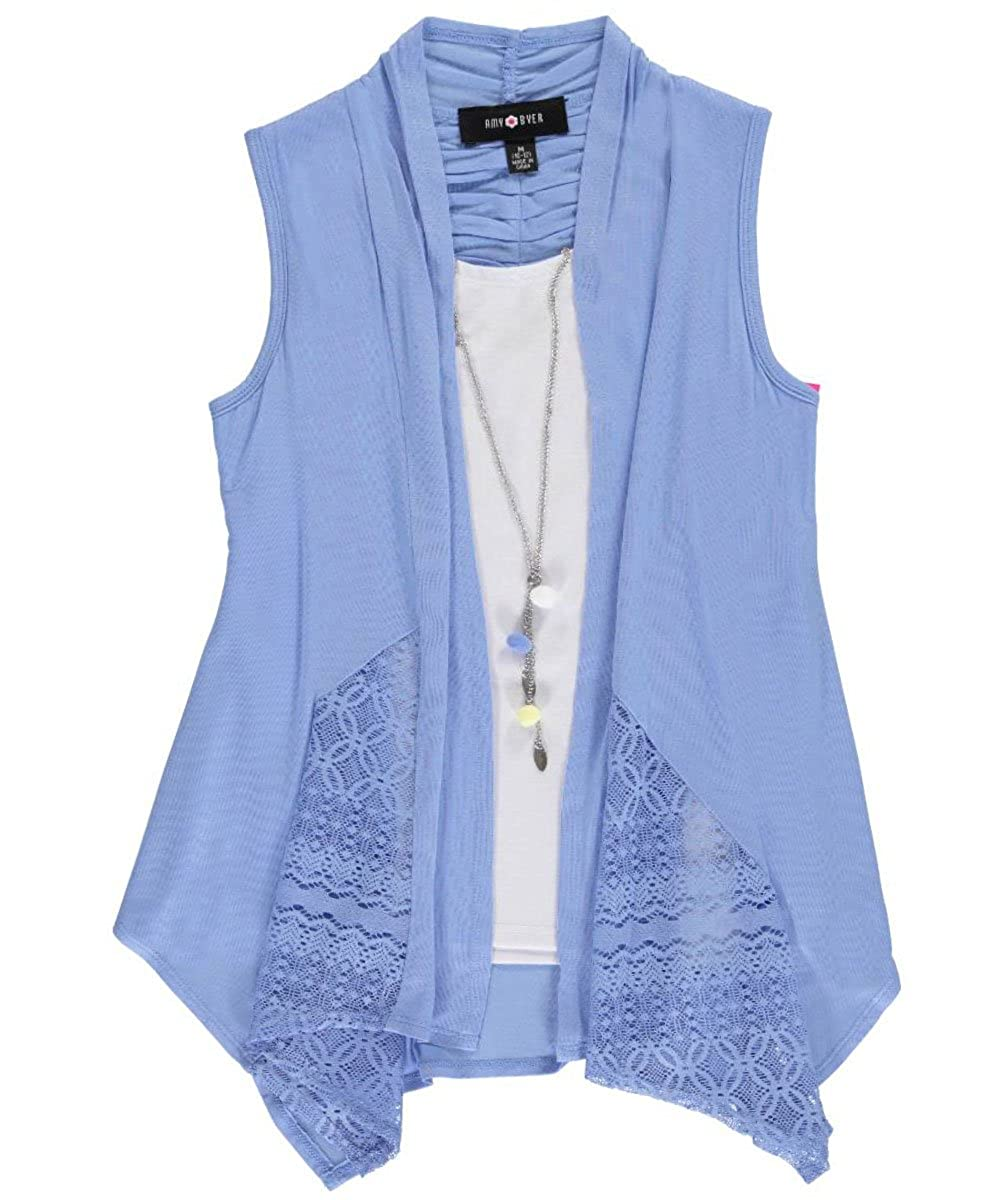 Amy Byer Big Girls' Cloudtop Layer Top with Necklace 14