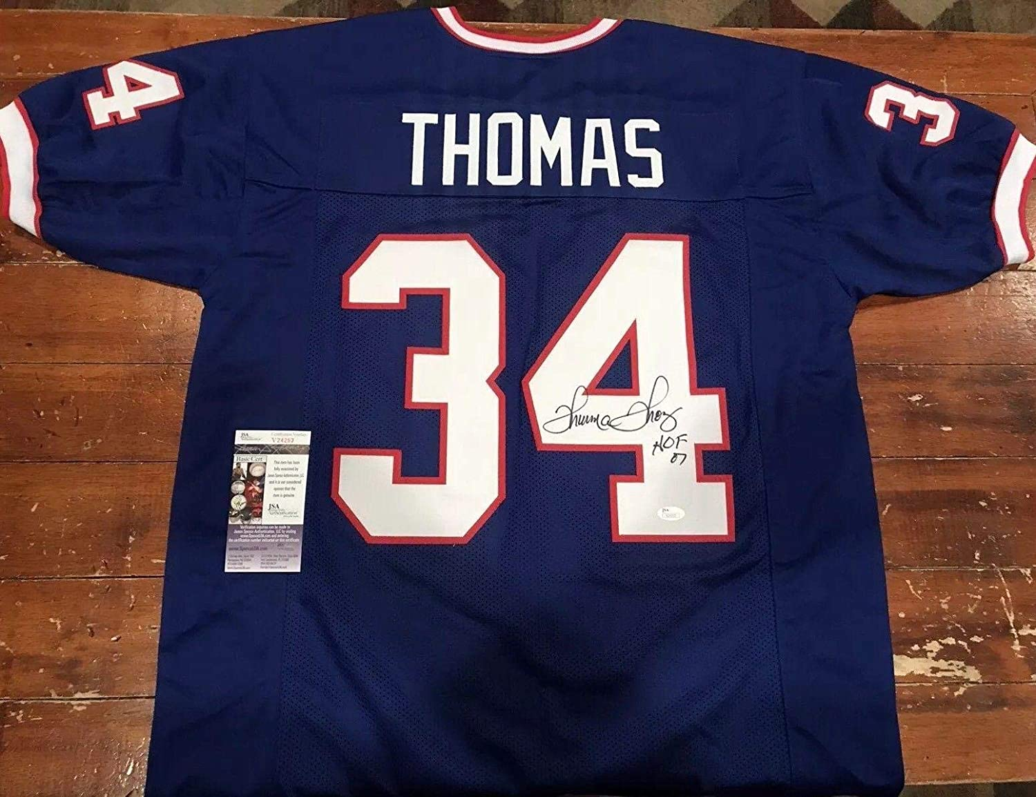 a7d4391f1ad Thurman Thomas Signed Jersey - Custom Throwback Blue - JSA Certified - Autographed  NFL Jerseys at Amazon s Sports Collectibles Store