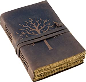 Vintage Leather Journal Tree of Life-Leather Bound Journal-Antique Paper-Beautiful Embossed Tree Leather Sketchbook - For Drawing Sketching and Writing-240 Pages