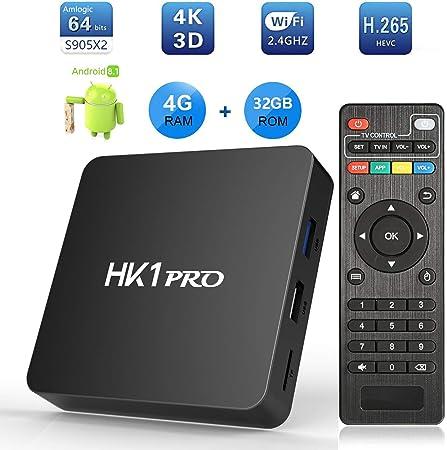 Android 8.1 TV Box, SeeKool HK1 Pro Smart TV Box S905X2 Quad Core 64 bit, 4GB RAM+32GB ROM, BT 4.1, 4K*2K UHD@60fps H.265, Android Set-Top Box Soporte 2.4G / 5.0G Dual WiFi /