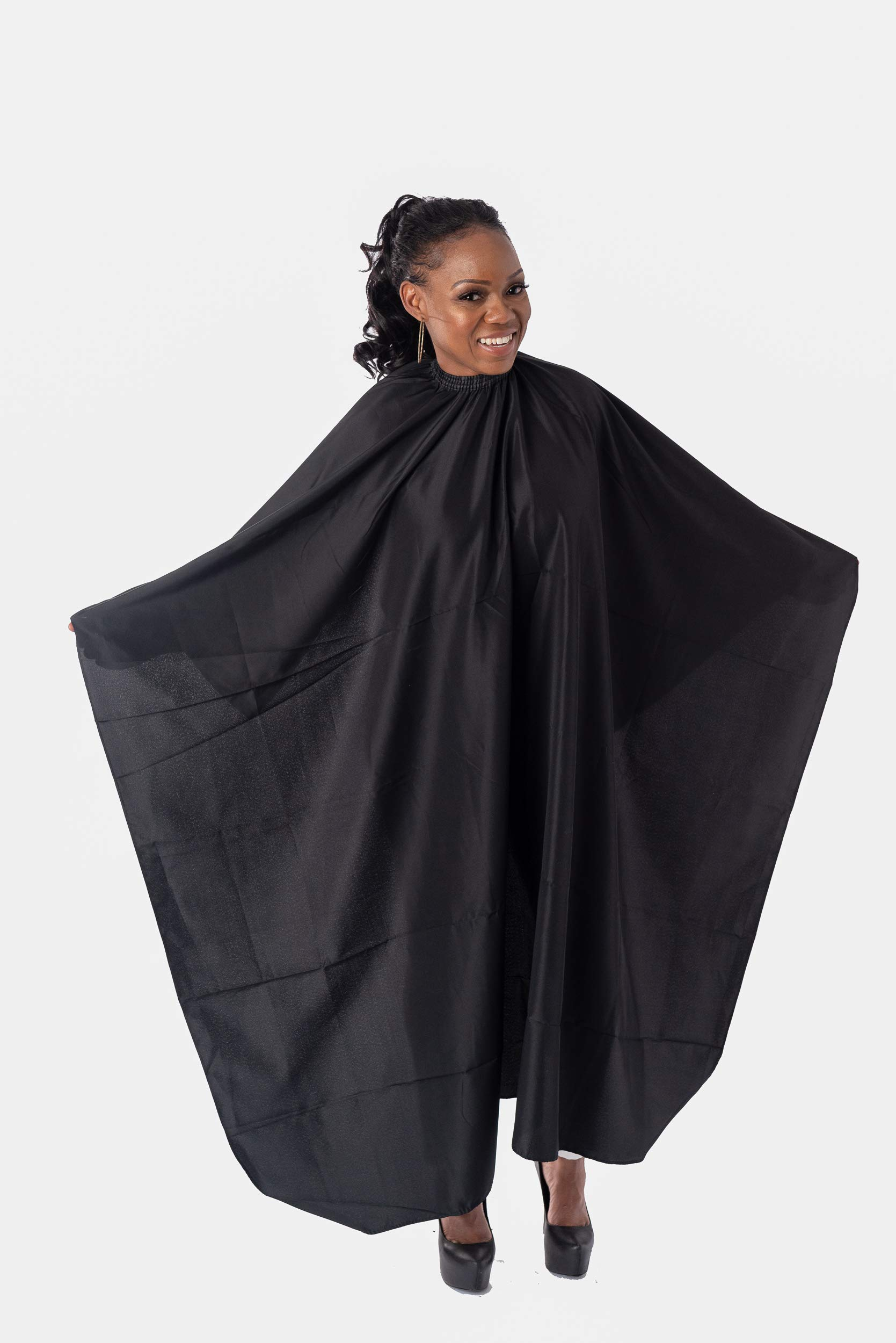 Capes By Sheena Black Hairdresser Barber Cape W/ 10 Snap Closure, X Large 66'' L x 53.5'' Stylist Supplies for Hair-Cutting