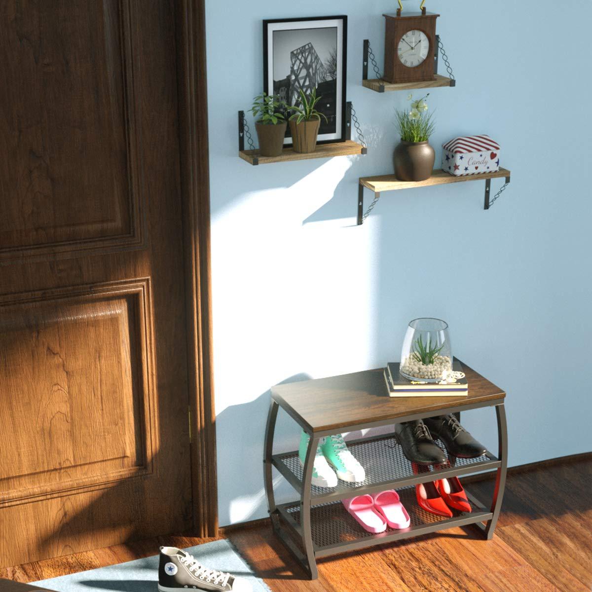 Roolee Schuhregalbank Vintage 3-stufiger Hochleistungsschuh-Aufbewahrungsregal f/ür Eingangsbereich im Wohnzimmer