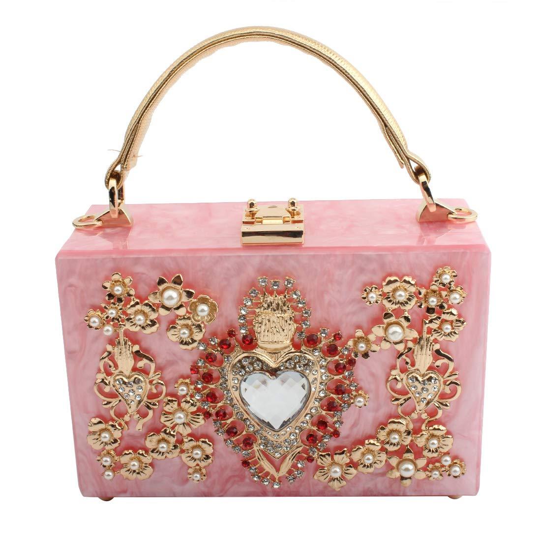 LETODE Women' Sparkling Crystal Clutch Purse Elegant Acrylic Evening Bags Wedding Party Handbag Pursey (PINK)