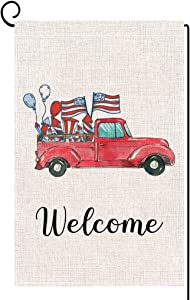 ORTIGIA Patriotic Welcome American Star Flag Garden Flag Double Sized 4th of July Memorial Independence Day Red Truck House Flag Yard Outdoor Decoration Burlap 12.5 x 18 Inch