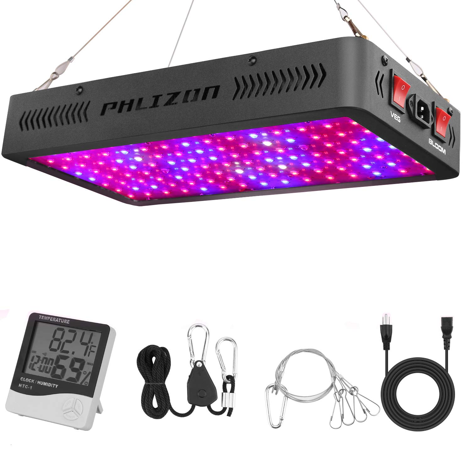 Phlizon Newest 1200W LED Plant Grow Light,with Thermometer Humidity Monitor,with Adjustable Rope,Full Spectrum Double Switch Plant Light for Indoor Plants Veg and Flower- 1200W(10W LEDs 120Pcs) by Phlizon