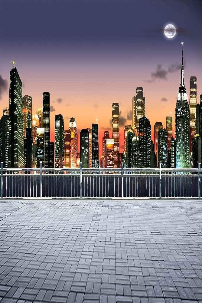 GladsBuy Bustling City 8' x 12' Digital Printed Photography Backdrop Fence and Pillars Theme Background YHA-391