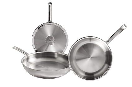 WMF Profi Set de 3 sartenes de acero inoxidable de 20, 24 y 28 cm, con antiadherente para todo tipo de cocinas incluido inducción