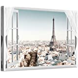 Window City Canvas Wall Art: Cityscape Skyline View Painting Paris Eiffel Tower Picture Print for Room Office (36'' x 24…