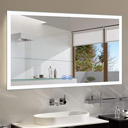 Amazon Com Decoraport Dimmable Anti Fog Led Bathroom Mirror With Bluetooth Function 55 X 36 In Vertical Horizontal Wall Mounted Mirror With Lights And Touch Screen Nt051 5536 Furniture Decor