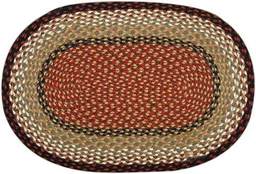 Earth Rugs Oval Area Rug, 27 x 45 , Burgundy Mustard