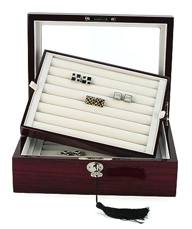 Charmant 72 CUFFLINK RING STORAGE BOX CUFF LINKS MENS JEWELRY DISPLAY WOOD CASE  412172