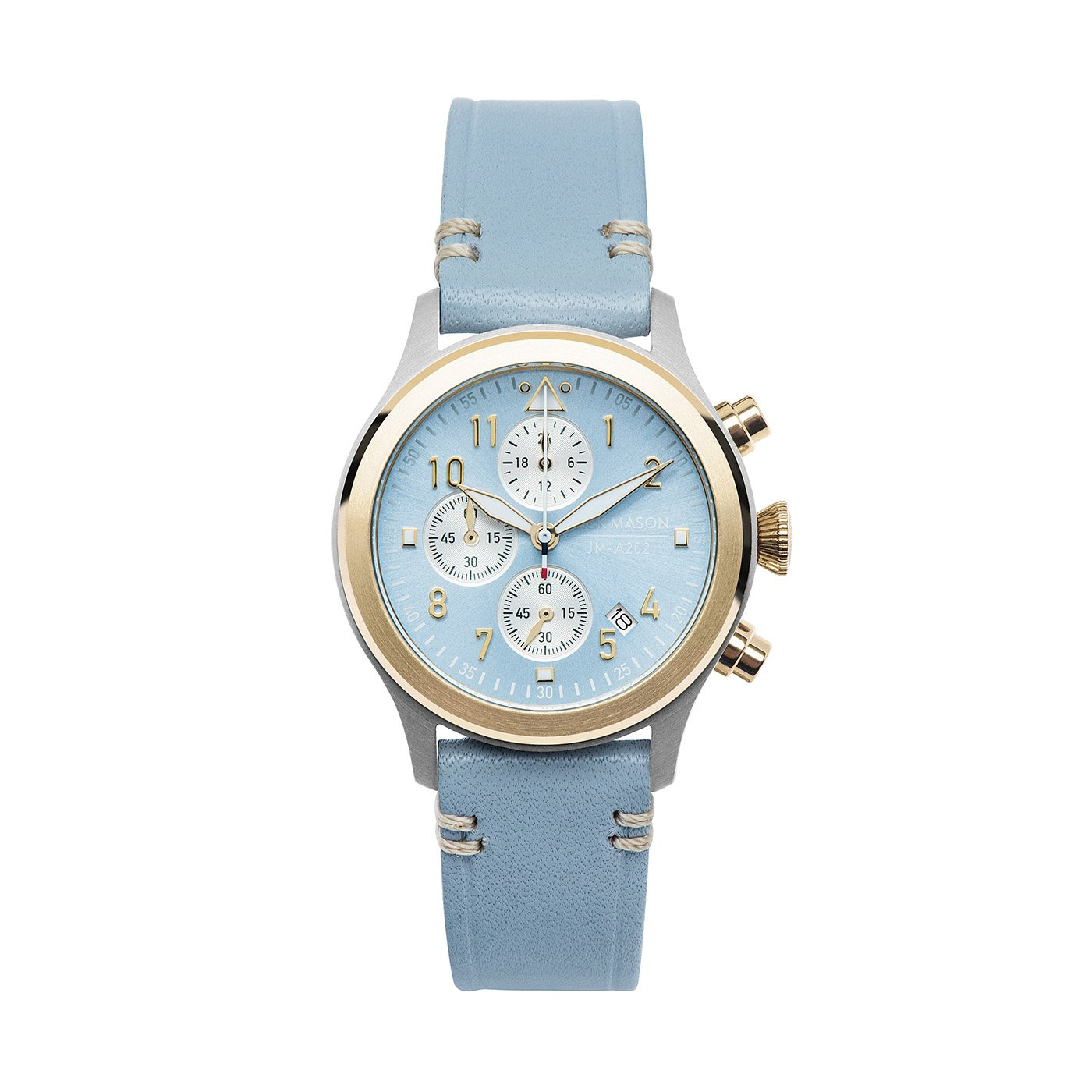 Jack Mason Women's Chronograph Watch Aviator Light Blue Leather Strap JM-A202-223 by Jack Mason