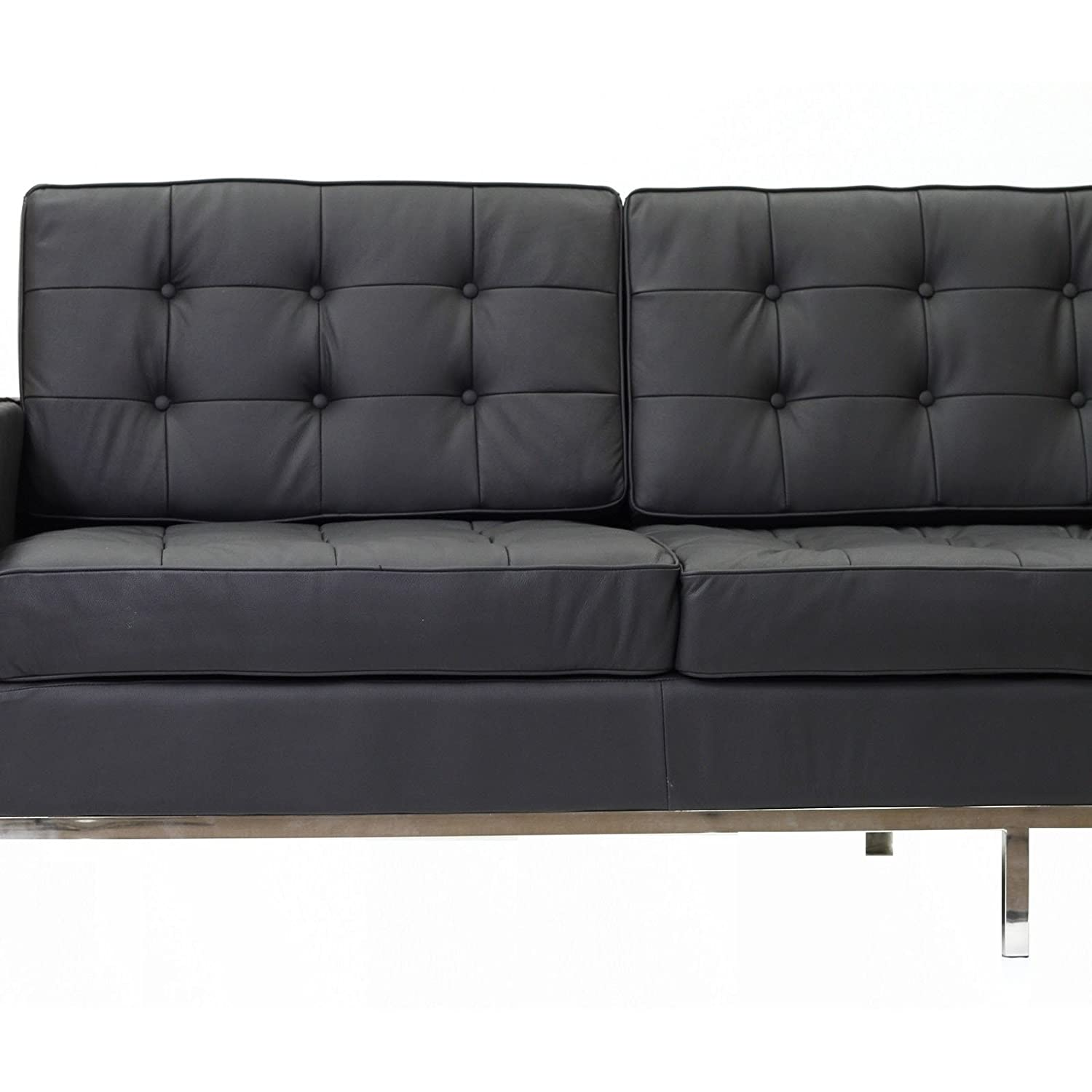 Amazon Modway Florence Style Sofa in Black Genuine Leather