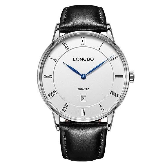 Longbo Simple para hombre bañado en plata azul mano números romanos reloj  de cuarzo de negocios cb102e569170